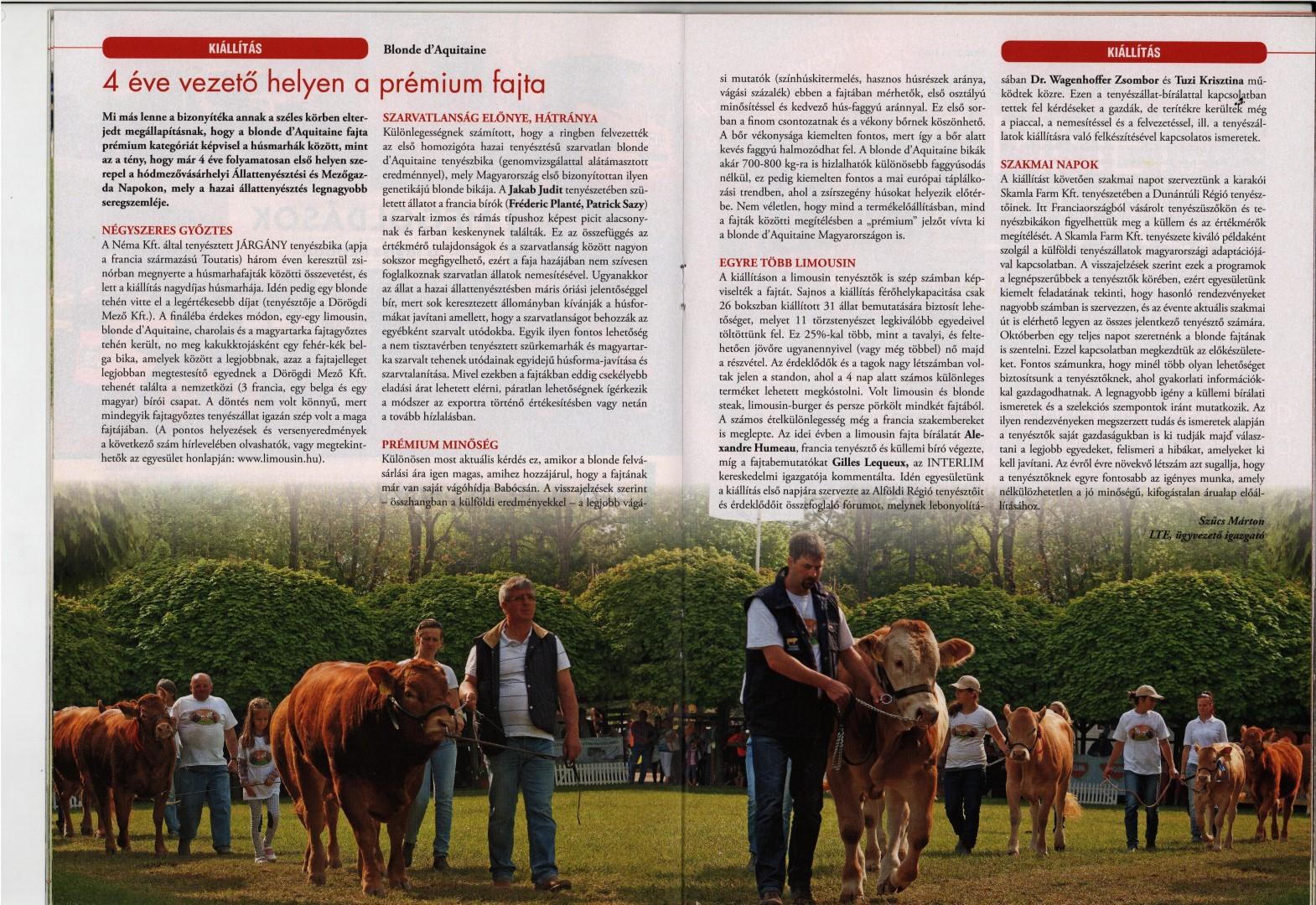Megjelent A Magyar Állattenyésztők Szövetsége folyóirata XLIV. évfolyam (új évfolyam XXI.) 6. számában