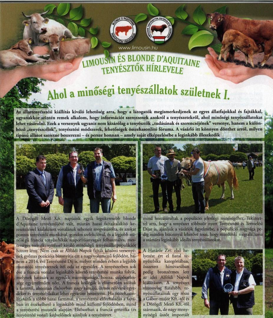 Megjelent A Magyar Állattenyésztők Szövetsége folyóirata XLIV. évfolyam (új évfolyam XXI.) 7. számában